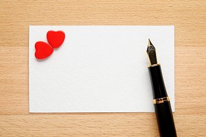 Blank Valentine card with two hearts