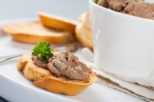 Open sandwiches with homemade chicken liver pate