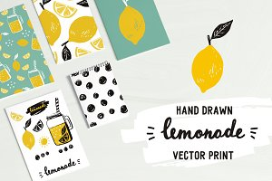 Hand drawn lemonade prints