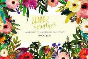 Hand Painted Summer Flowers