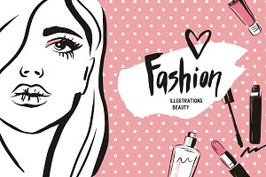 Fashion beauty girl illustration