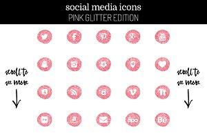 29 Glitter Pink Social Media Icons