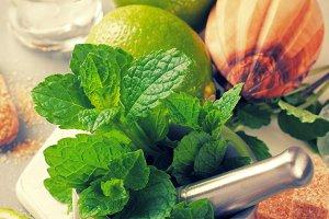 Ingredients for making mojitos