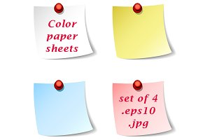 4 original color paper note sheets
