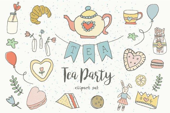 pastel tea party clip art illustrations creative market