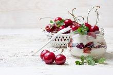 yogurt with sweet cherry