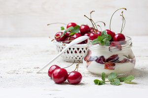 yogurt with sweet cherry