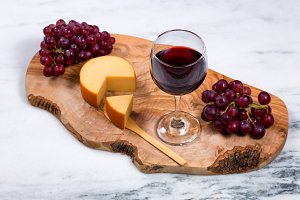 Red Wine with fruit and cheese