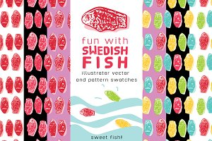 SALE Swedish Fish Swatches&Vector