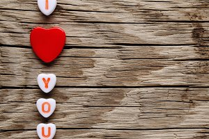 I love you text on miniature hearts