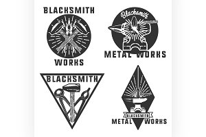 Blacksmith graphic vintage emblems
