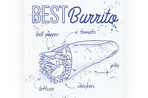Burrito recipe on a notebook page