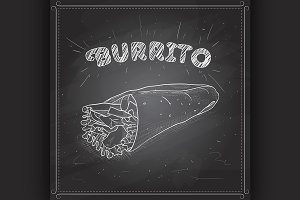 Burrito scetch on a black board