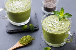 Matcha green tea chia seed pudding Healthy dessert