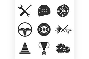 Car racing flat icons set