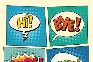 retro comic bubbles pop art phrases