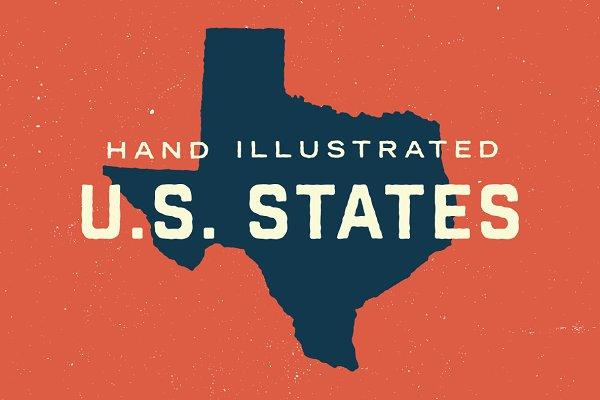 50 States - Hand Illustrated