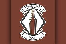Color vintage beer brewery emblem
