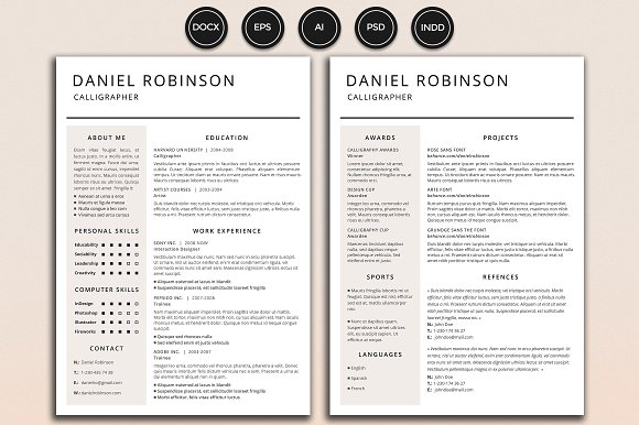 resume cv robinson resume templates creative market
