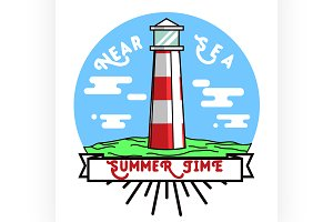 Color vintage summer season emblem