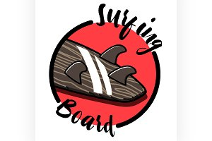 Color vintage surfing emblem