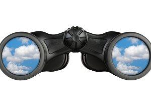 Binoculars with reflection of sky