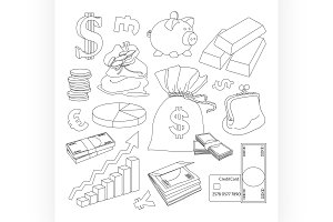 Finance and Currency icons set.