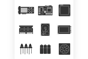 Electronic parts icons