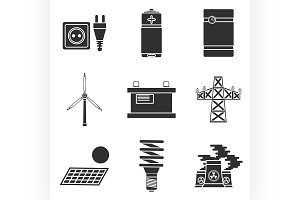 Energy generating systems icons set