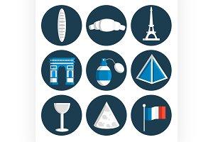 France flat icons set