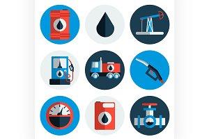 Gas trade vector flat icon set