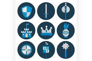 Knights flat icons set