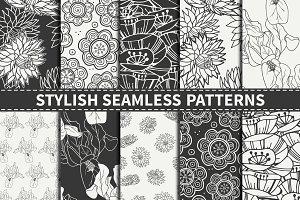 Doodle Floral Seamless Patterns Set