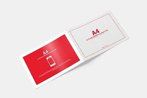 A4 Bifold Horizontal Brochure MockUp