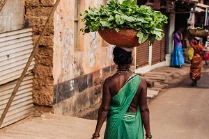 woman with basket on the head