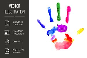 Handprint in vibrant colors of the r