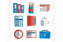 Office equipment flat icon set