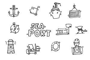 Sea port black icons set