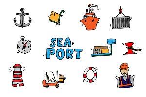 Sea port colorful icons set