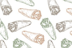 Seamless pattern burrito scetch