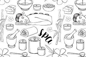 Spa doodle set pattern