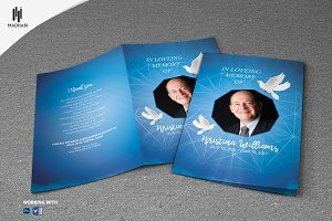 SparkleBlue Funeral Program Template