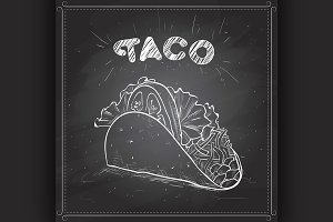 Taco scetch on a black board