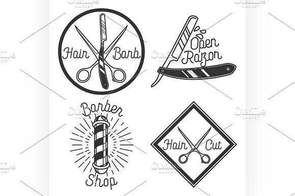 Vintage barbershop emblems
