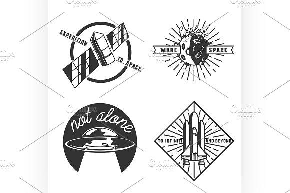 Vintage space emblems in Illustrations
