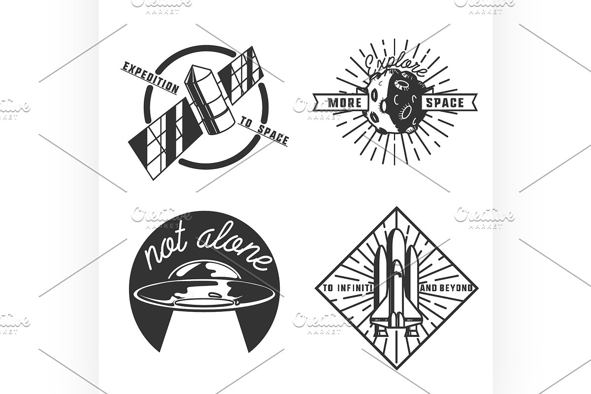 Vintage space emblems in Illustrations - product preview 8