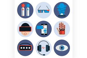 Virtual reality flat icon set