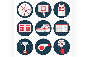 Basketball flat icons set