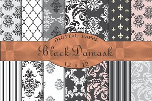 Black damask patterns