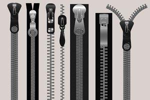 Vector zippers, fastener vector set
